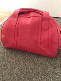Real leather coral pink M&S travel bag