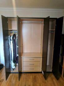 4 Door wardrobe with drawers. Brown & mirrored. MUST GO