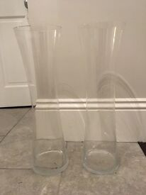 Two large flower vases