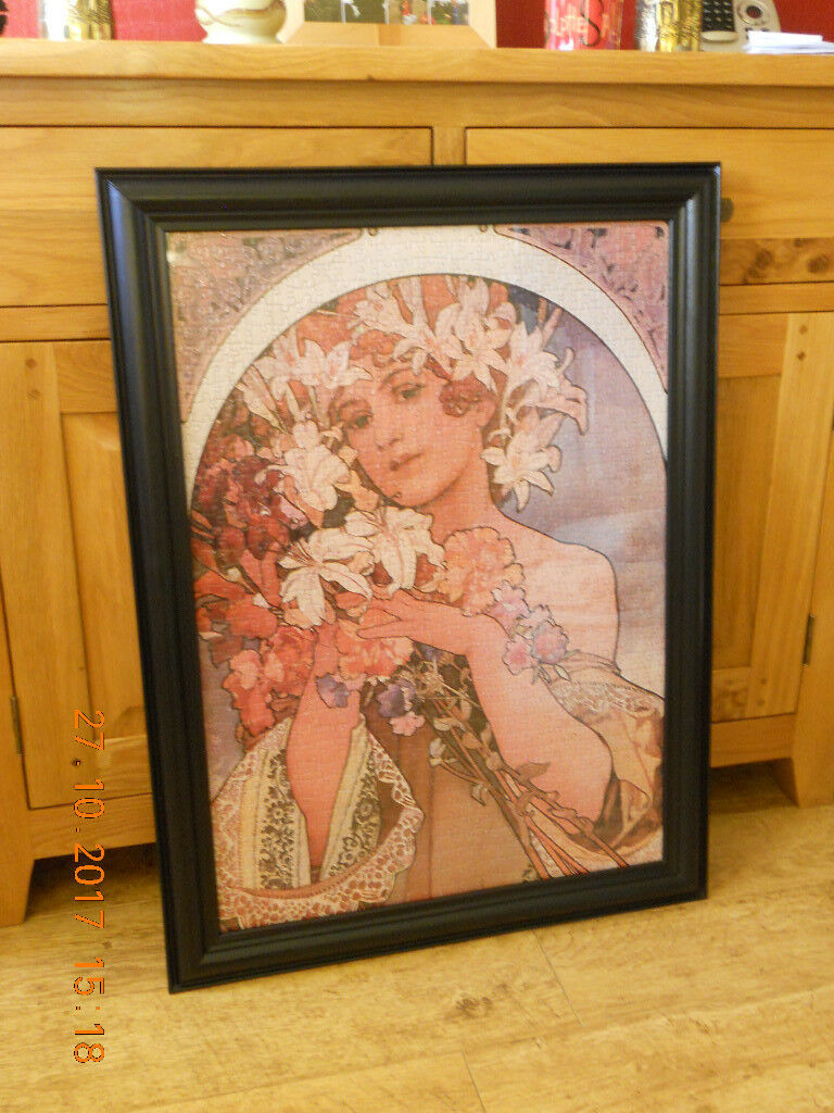 LARGE FRAMED ART NOUVEAU PICTURE ' Mucha - Flower Lady'