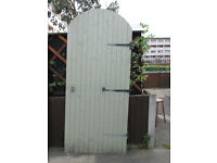 WOODEN GARDEN GATE 7 &1/2 FOOT TALL AT HIGHEST POINT REDWOOD TONG AND GROOVED 13MM