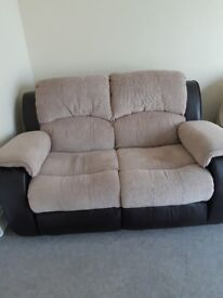 double recliner half leather half material brown leather and beige