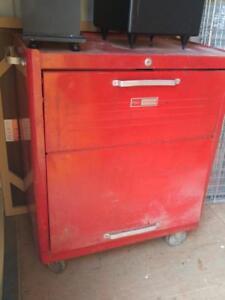 "RED TOOL BOX Craftsman Sears TALL 27""w x 18dp x 34""hi  Metal Solid Great quality Older model no key"