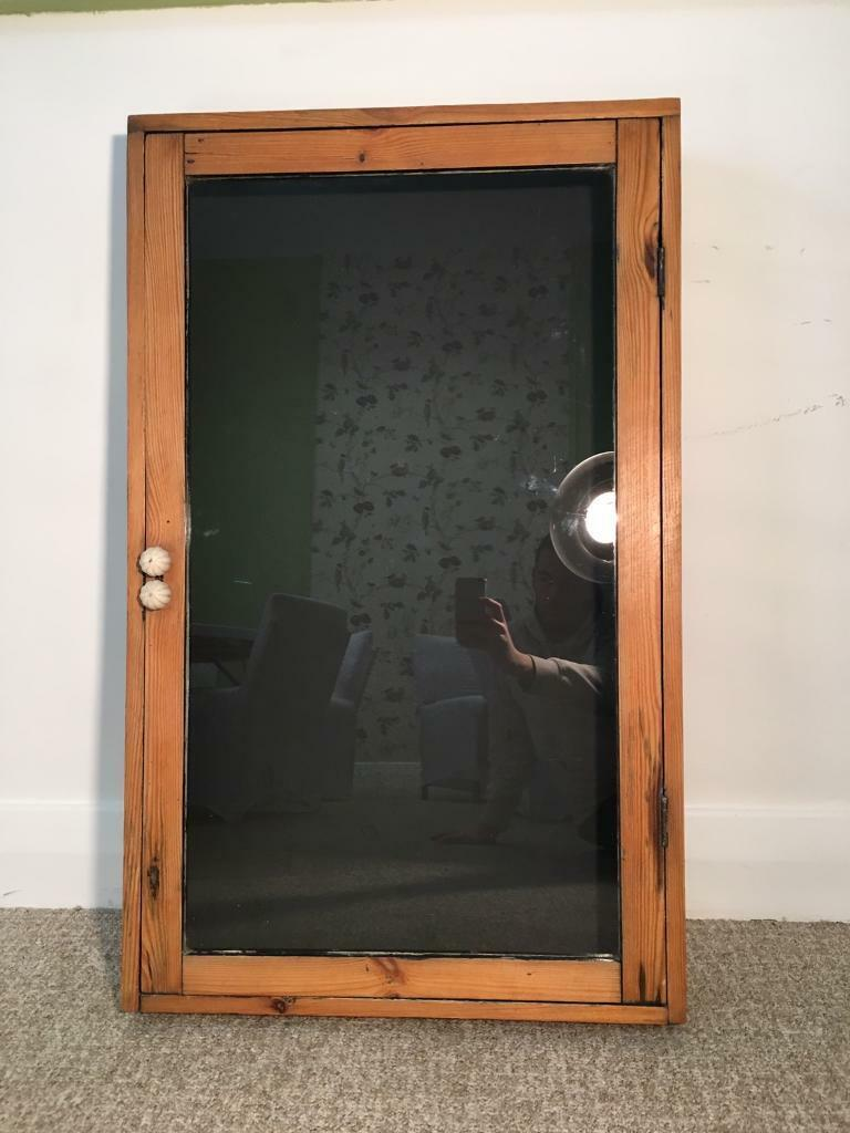 Vintage Wooden Glass Wall Mounted Display Notice Board