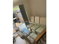 Harvey's Oak & Glass dining table and chairs