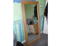 Very large oak mirror = Fantastic condition
