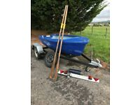 "9'6"" Fibreglass day boat with trailer"
