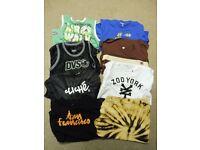 JOB LOT of 10 mens medium skate t-shirts, vests and jumper
