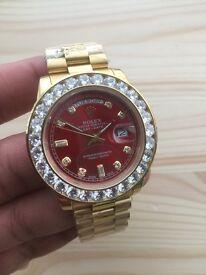 New gold daydate rolex diamond watch day date