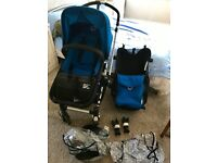Bugaboo Cameleon Denim with Blue colour pack, rain cover for both adapters and car seat adapters