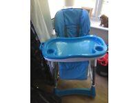 Child's blue high chair