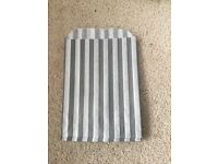 30 grey and white stripe paper sweet bags