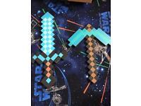 Minecraft foam diamond pickaxe and sword