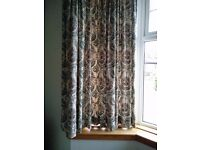 Pair of Curtains, green & beige