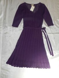 Monsoon Milly Knitted Delicate Purple Dress New Size M