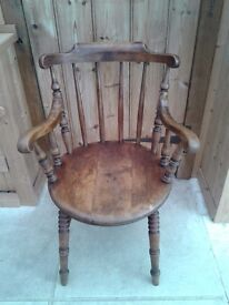 LOVELY VINTAGE WOOD ELBOW SMOKERS CHAIR BOW CHAIR PENNY ROUND CARVER IDEAL DESK COMPUTER CHAIR SEAT