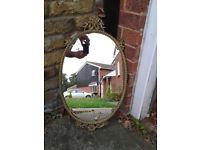 Mirror Oval Cast Metal Vintage / Antique / Retro 1950s FREE DELIVERY