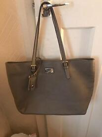 Paul Costello grey leather shoulder bag