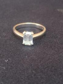 Diamond Ring GIA Certificated 0.89 carat Emerald cut