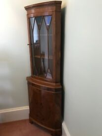 Glass fronted panelled, wooden corner cabinet