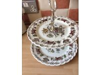 3 vintage style silver plated cake stands and one floral vintage cake stand