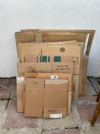 Cardboard packing boxes, small, medium, large