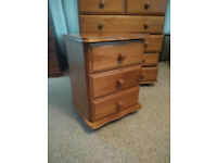 SOLID PINE CHEST OF DRAWS AND MATHCING BEDSIDE TABLE