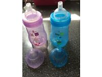 2 x MAM Trainer Bottle, Non Spill Spout - 220 ml