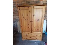 Small wardrobe,pine, 3/4 height with 2 drawers. Ideal f