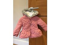 John Lewis Baby Quilted Hood Jacket, Pink