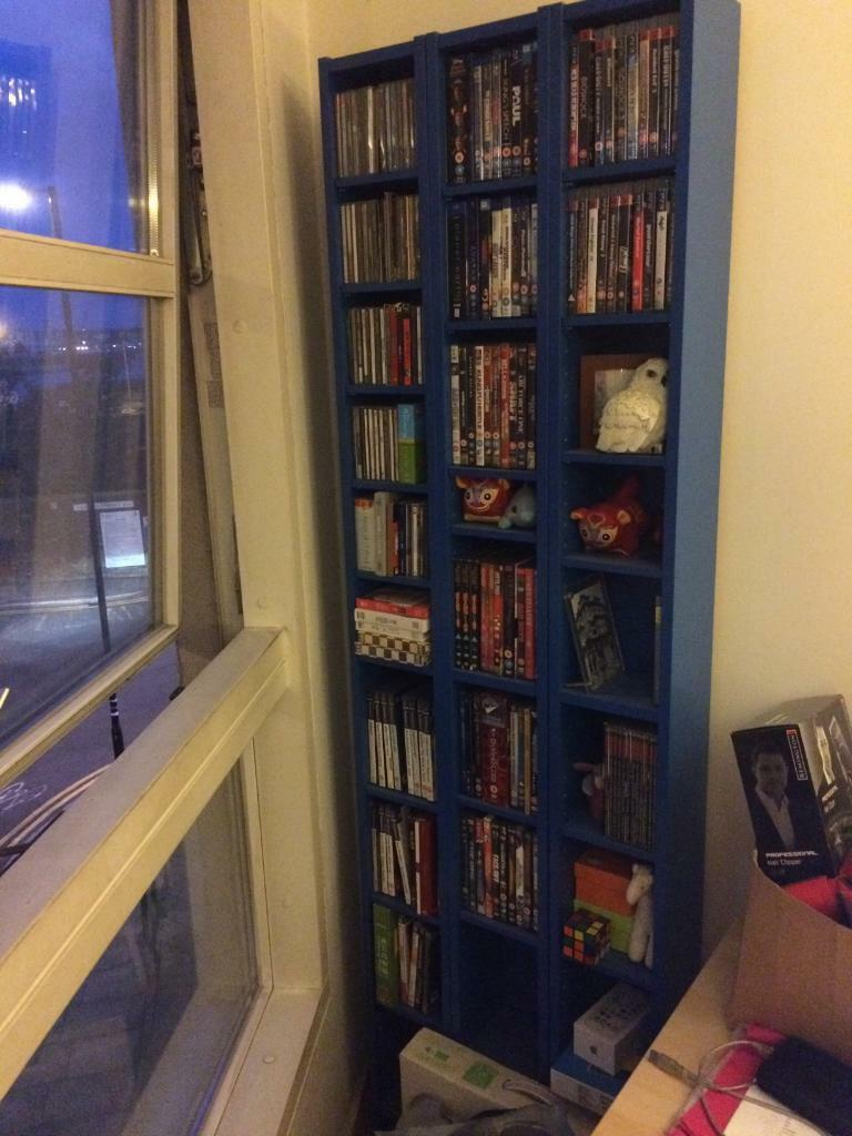 Ikea gnedby dvd cd games shelving tower in canary wharf for Meuble cd dvd ikea