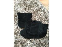 Uk Ladies Size 5 Black Suede leather Ankle boots with side fringe. Excellent condition. £4 Can p