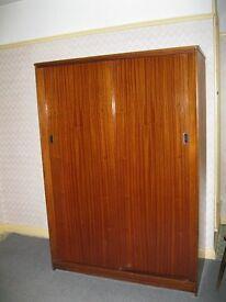 Genuine Vintage Retro Austinsuite 1960's Solid Teak Wood Double Wardrobe with sliding doors