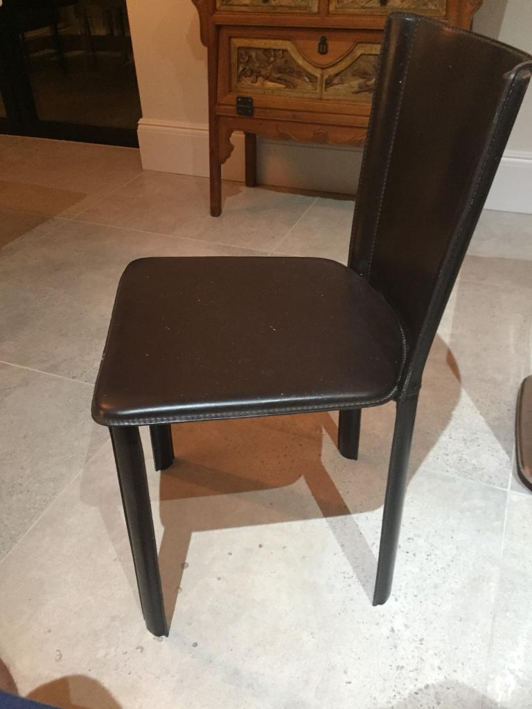 Six Brown Leather Dining Room Chairs From Heals