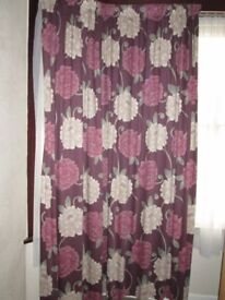 """1 PAIR OF CURTAINS BURGUNDY WITH PINK AND BEIGE FLOWERS DESIGN 90""""W X 88""""D"""