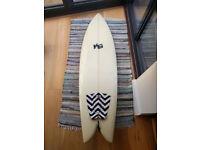 retro twin fin surfboard