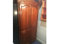 "Handsome Great Quality ""Younger Furniture"" Cherry Wood Free Standing Lockable Double Wardrobe"