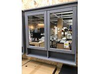 HEMNES mirror cabinet with 2 doors, grey, 103x16x98 cm, IKEA MILTON KEYNES #bargaincorner