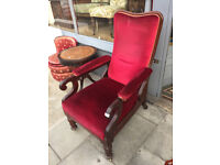 Large mahogany armchair with red plush upholstered back ,arm and seat. feel free to view...