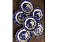 Ringtons willow pattern plates x6