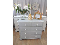 Lovely Solid Pine Shabby Chic Grey Chest of Drawers