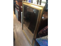 Large gold framed mirror , lovely detail on frame . Size 36in x 46.5in Free local delivery.