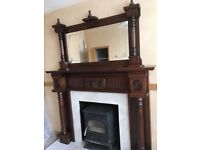 Mahogany fire place surround with over mantle mirror