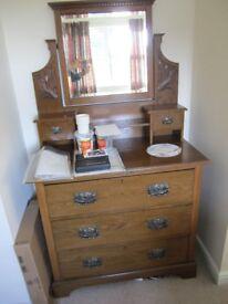Vintage SOLID OAK wardrobe and dresser in beautiful original condition.