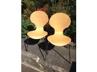 2 Light Wood and Chrome Stacking Chairs