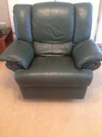 Free leather armchair recliner dark green