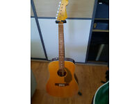 Fender Sonoran acoustic non-cutaway solid top with fitted SKB Fender badged case
