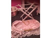 Dolls Moses basket and wooden stand