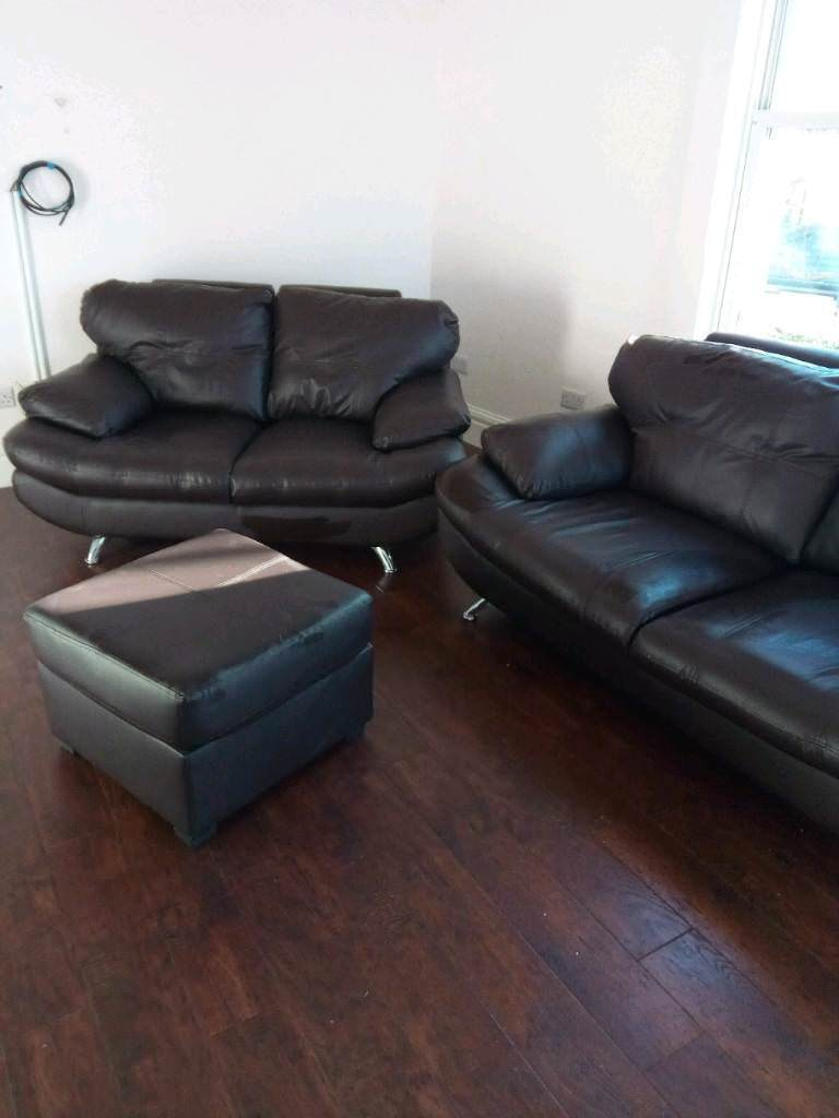 Nearly New 3 2 Seat Brown Leather Sofas