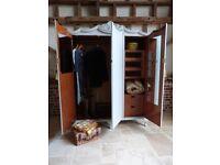 Vintage Retro French inspired painted triple 3 door linen press wardrobe